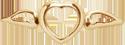 Coeur avec des ailes mini plaqué or