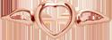 Cœur avec des ailes mini or rose