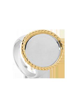 Bague ronde Twist Argent et Or 14 carats