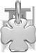 Trèfle carré 1 cm Argent