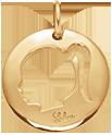 Médaille ajourée fille 2 cm plaqué or