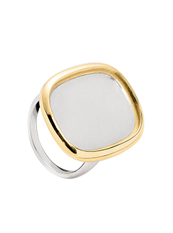 Bague rectangle arrondi Argent et Or 14k