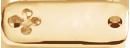 Plaque rectangulaire avec trèfle plaqué-or 2,5 cm