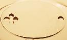 Plaque ovale avec trèfle plaqué-or 2,6 cm