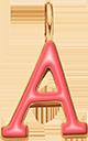 Pendentif Sens 1 cm, A, émail corail, plaqué or