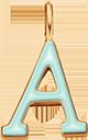Pendentif Sens 1 cm, A, émail menthe, plaqué or