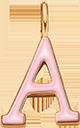 Pendentif Sens 1 cm, A, émail rose, plaqué or