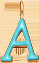 Pendentif Sens 1 cm, A, émail turquoise, plaqué or