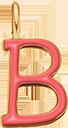 Pendentif Sens 1 cm, B, émail corail, plaqué or