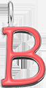 Pendentif Sens 1 cm, B, émail corail, plaqué argent