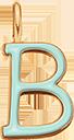 Pendentif Sens 1 cm, B, émail menthe, plaqué or