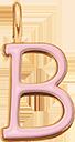 Pendentif Sens 1 cm, B, émail rose, plaqué or