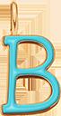 Pendentif Sens 1 cm, B, émail turquoise, plaqué or