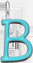 Pendentif Sens 1 cm, B, émail turquoise, plaqué argent