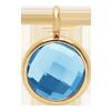 Pendentif avec quartz bleu, plaqué or, 1 cm