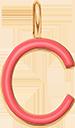 Pendentif Sens 1 cm, C, émail corail, plaqué or