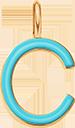 Pendentif Sens 1 cm, C, émail turquoise, plaqué or