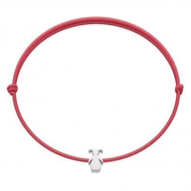 Bracelet avec une fille Etincelle en argent sur un cordon fin framboise