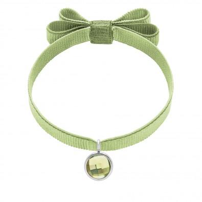 Bracelet avec pendentif quartz vert plaqué argent, sur ruban double noeud pistache