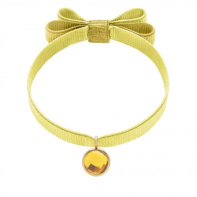 Bracelet avec pendentif quartz jaune plaqué or, sur ruban double noeud jaune