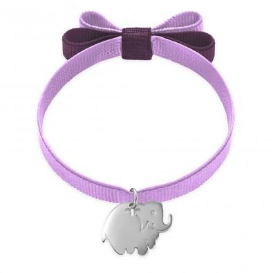 Bracelet ruban double nœud de couleur lavande avec un éléphant en argent