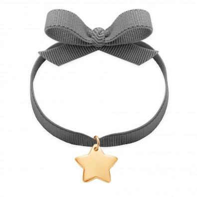 Bracelet sur ruban gris avec une étoile plaqué or