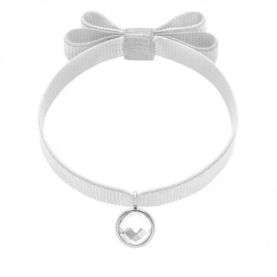 Bracelet avec pendentif quartz blanc plaqué argent, sur ruban double noeud blanc