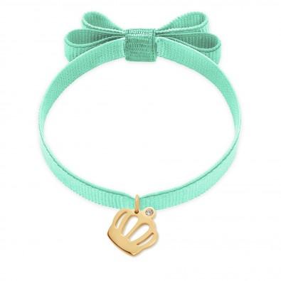 Bracelet ruban double nœud de couleur menthe avec une couronne Queen plaquée or
