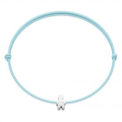 Bracelet avec un bébé Etincelle en argent sur un cordon fin bleu ciel