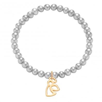 Bracelet en mini-perles d'argent avec un ange ajouré plaqué or