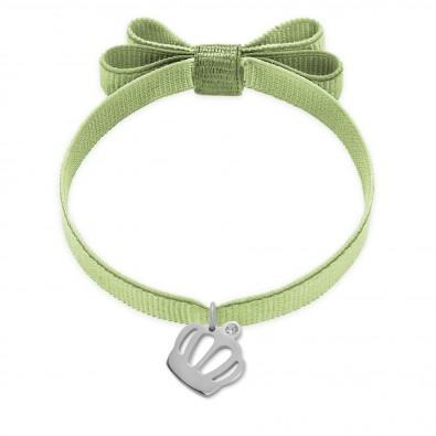 Bracelet ruban double nœud de couleur pistache avec une couronne Queen en argent