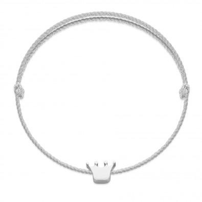 Bracelet avec une couronne Etincelle en argent sur un cordon épais couleur argent premium