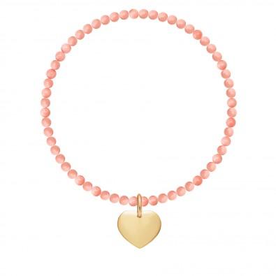 Bracelet Mercure en pierres naturelles avec un coeur plaqué or