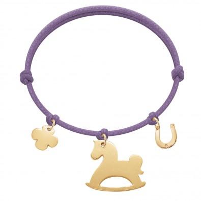 Bracelet avec trèfle rond, cheval à bascules et fer à cheval plaqués or sur un cordon épais de couleur lavande