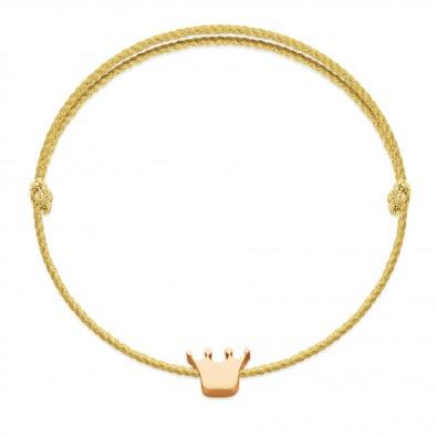 Bracelet avec une couronne Etincelle plaquée or sur un cordon épais couleur or premium