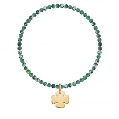 Bracelet Earth mini en pierres naturelles avec un trèfle plaqué or