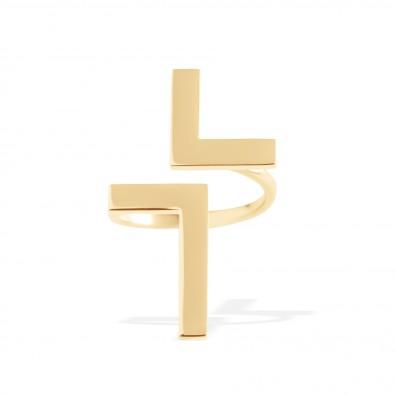 Bague Cross, plaqué or