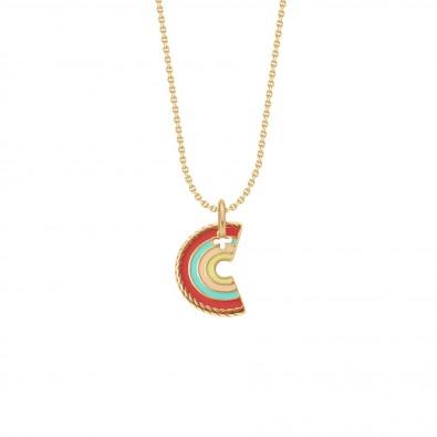 Collier avec pendentif Rainbow sur chaîne, plaqué or