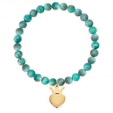 Bracelet Earth en pierres naturelles avec une couronne King plaquée or