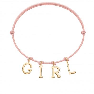 Bracelet GIRL, lettres plaqué or, sur cordon classique rose poudre