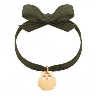 Bracelet ruban de couleur kaki avec un hibou plaqué or