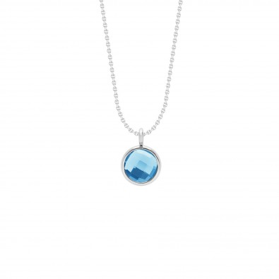 Collier avec pendentif quartz bleu sur chaîne fine classique, plaqué argent