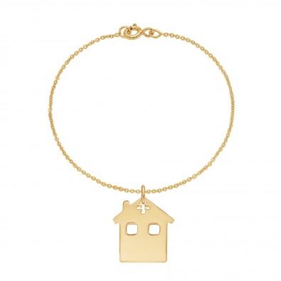 Bracelet avec maison sur chaîne fine classique, plaqué or