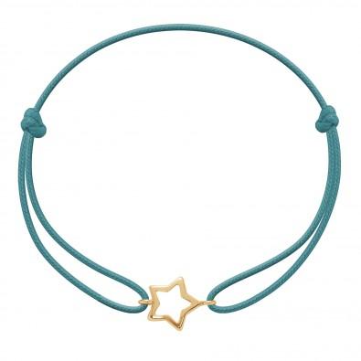 Bracelet avec étoile ajourée plaquée or sur un cordon fin turquoise