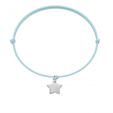 Bracelet avec étoile en argent sur un cordon fin bleu clair