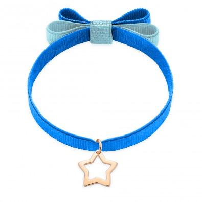 Bracelet ruban double nœud de couleur saphir avec une étoile ajourée en or