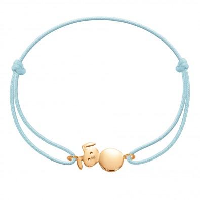 Bracelet avec un lapin plaqué or sur un cordon fin bleu clair