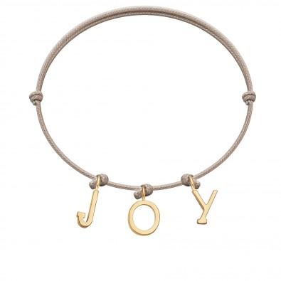 Bracelet JOY, lettres plaqué or, sur cordon classique beige