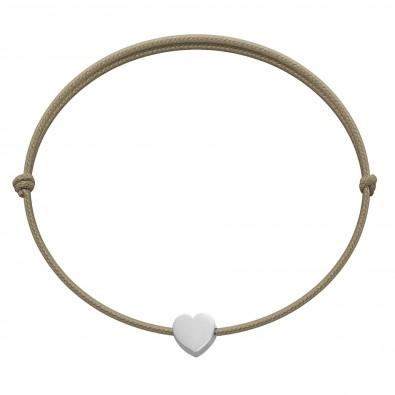 Bracelet avec un cœur Étincelle en argent sur un cordon fin de couleur cappuccino