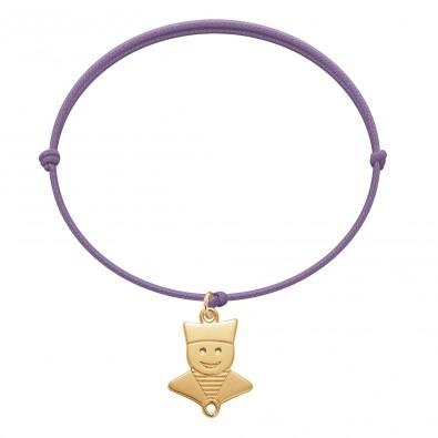 Bracelet avec un marin plaqué or sur un cordon fin de couleur lavande